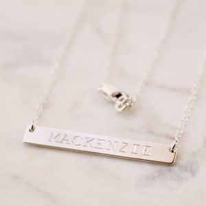 Jewelry - Sterling Silver Engraved CUSTOM Name Bar Necklace